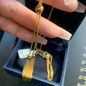 14 karat gold necklace never worn adjustable